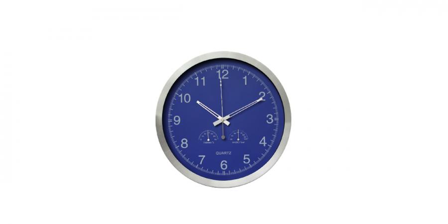 საათი კედლის ალუმინის, ჰიგრომეტრით და თერმომეტრით,Ø35x4.2სმ., ლურჯი