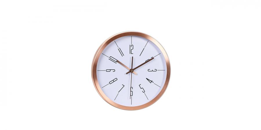 საათი კედლის ოქროსფერი ალუმინის, Ø30x4.2სმ., თეთრი