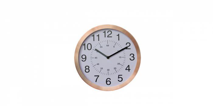 საათი კედლის ოქროსფერი ალუმინის ჩარჩოთი, Ø30x4.2სმ., თეთრი