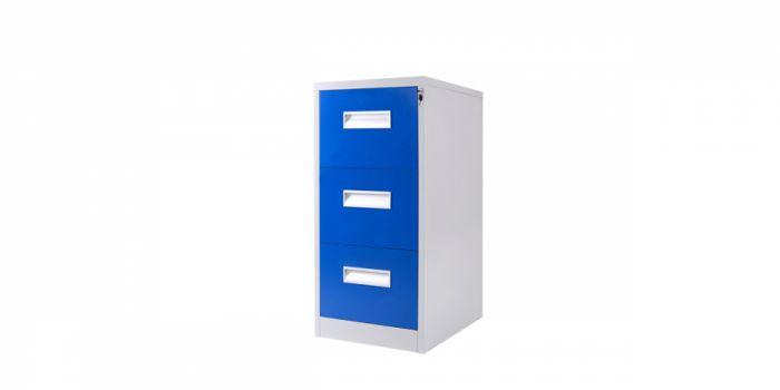 ფაილკაბინეტი მეტალის, 3 უჯრიანი, ლურჯი / ნაცრისფერი