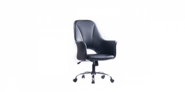 ბარის სკამი ტყავის ზედაპირით, შავი